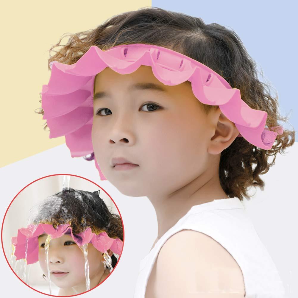 SOUBUN Safe Shampoo Shower Protects Silicone Bath Cap.Suitable for Infants, Infants and Children.(Pink)