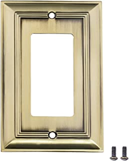 AmazonBasics Single Gang Light Switch Outlet Wall Plate, Antique Brass, 3-Pack