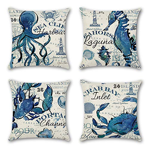Artscope Set of 4 Decorative Soft Cotton Linen Cushion Covers for Sofa Car 45 x 45 cm Square Throw Pillow Covers Pillowcases with Invisible Zipper (Ocean Animal B)