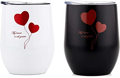 DOKIO 12 oz Valentine's Day Wine Sippy Cup For Adults Insulated Wine Glasses Tumbler Stemless Stainless Steel Double Wall Vacuum Insulated Tumbler With Lid Hot Drink Coffee Mug Outdoors, Gift 2 Sets
