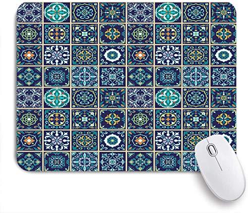 NOLOVVHA Gaming Mouse Pad Rutschfeste Gummibasis,Satz portugiesische Fliesen, Azulejo, Talavera, Marokkaner,für Computer Laptop Office Desk,240 x 200mm