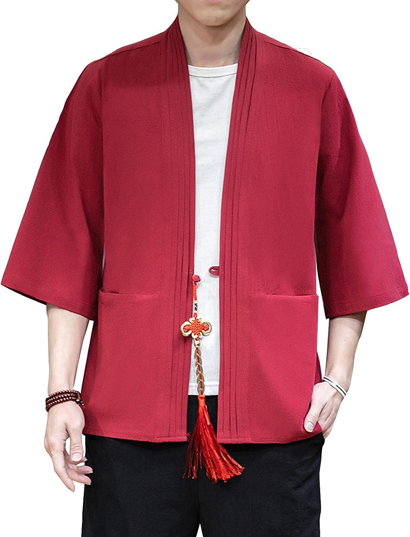 DOSLAVIDA Men's Kimono Cardigan Jackets Open supreme Philadelphia Mall Cotton Casual Linen