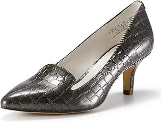 JENN ARDOR Women'sLow Kitten Heel Pumps Pointed Toe Slip On Dress Party Office Pumps