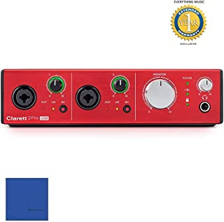 Focusrite Clarett 2Pre USB 10-in/4-out USB 2.0 Audio Interface with Microfiber and Free EverythingMusic 1 Year Extended Warranty