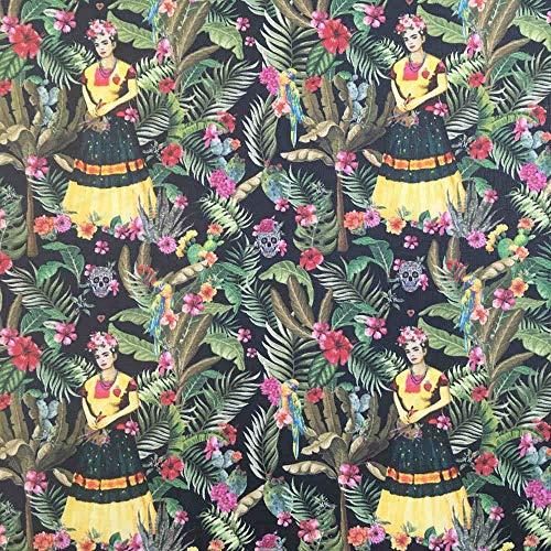 Kt KILOtela Tela por Metros de loneta Estampada Digital - Half Panamá 100% algodón - Ancho 140 cm - Largo a elección de 50 en 50 cm | Frida Tropical - Multicolor
