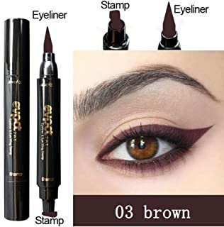 HuntGold Eyeliner With Eye Wing Stamp Dual Ended Liquid Waterproof Natural For Beginners 15.5g -03#Brown