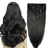 10'-22' Extension Cheveux Naturel a Clip Noir Maxi Volume Tête Entière - Remy Human Hair Double Weft 8 Pcs Extensions (#01 Noir foncé, 25cm-110g)