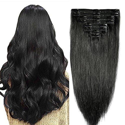Clip in extensions echthaar Doppelt Tressen Remy Echthaar Haarverlängerung 8 teiliges set dick (35cm-120g, 1 Schwarz)