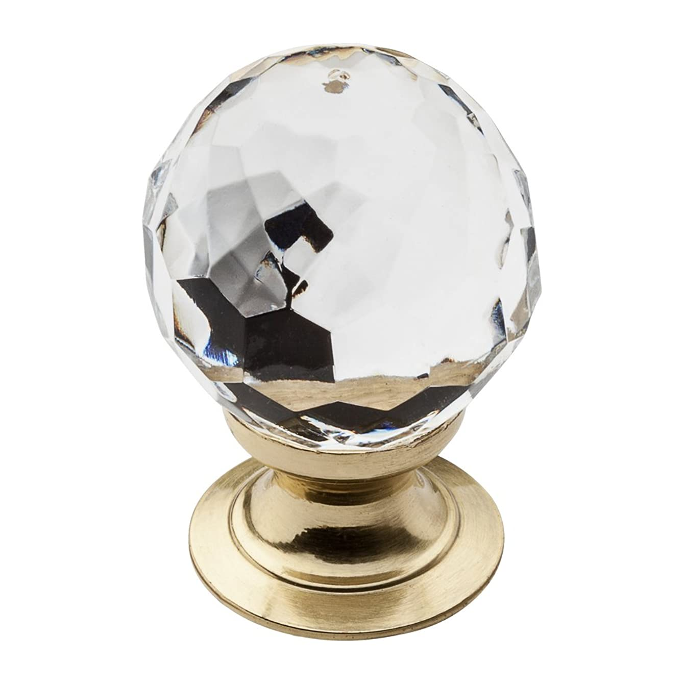 Baldwin 4317.030 1-Inch Crystal Cabinet Knob, Polished Brass