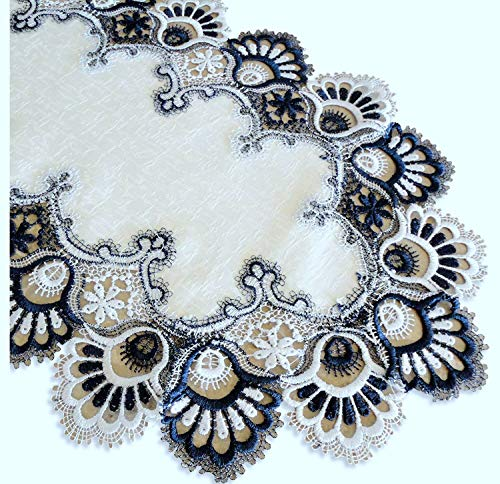 Blue White Lace Doily Dresser Scarf Table Runner Navy