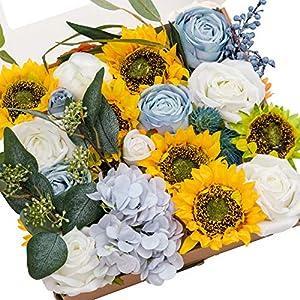 Ling's moment Artificial Flowers Box Set Elegant Sunflower for DIY Wedding Bouquets Centerpieces Arrangements Party Baby Shower Home Decorations