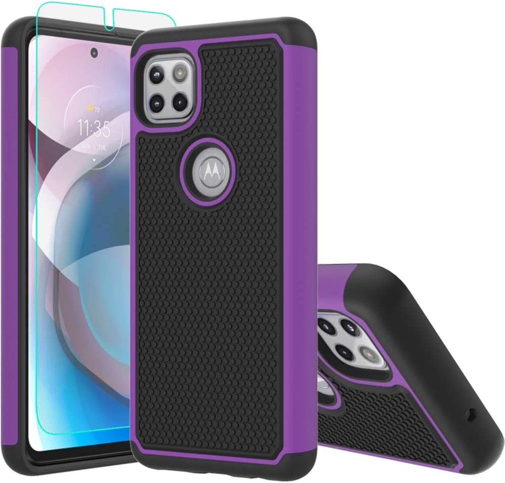Moto One 5G Ace Case,Motorola 5G Ace Case,with HD Screen Protector [Shock Absorption] Hybrid Dual Layer TPU & Hard Back Cover Bumper Protective Case Cover for Motorola Moto One 5G Ace (Purple Armor)
