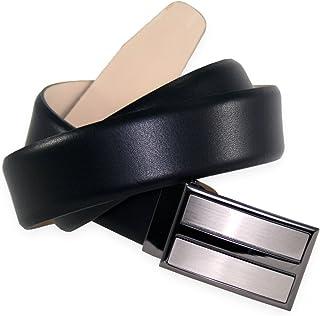 Mens Leather Belt/Mens Belt LINDENMANN, plate buckle, black, 683