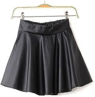 Women's High Waist Faux Leather Short Skater Flared Pleated Mini Skirt