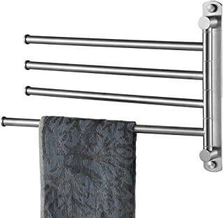 JQK Swivel Towel Bar, 304 Stainless Steel Swing Towel Rack with 4 Arm, 13 Inch Wall Mount Brushed Finish, STB104-BN