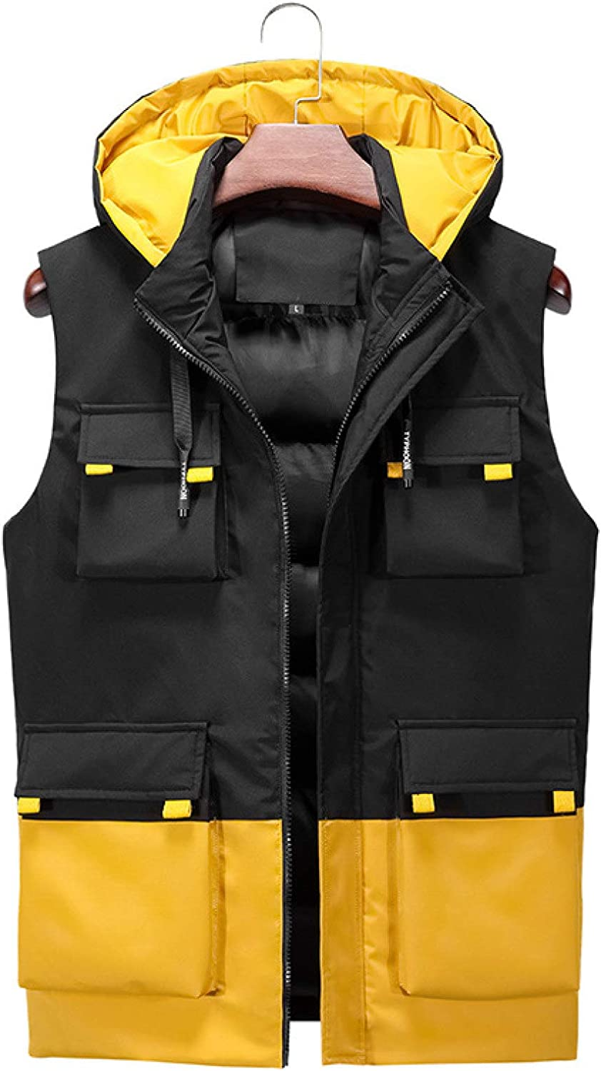 Men's Winter Outdoor Hooded Vests Warm Thicken Polyester Lightweight Sleeveless Quilted Puffer for Casual Sports