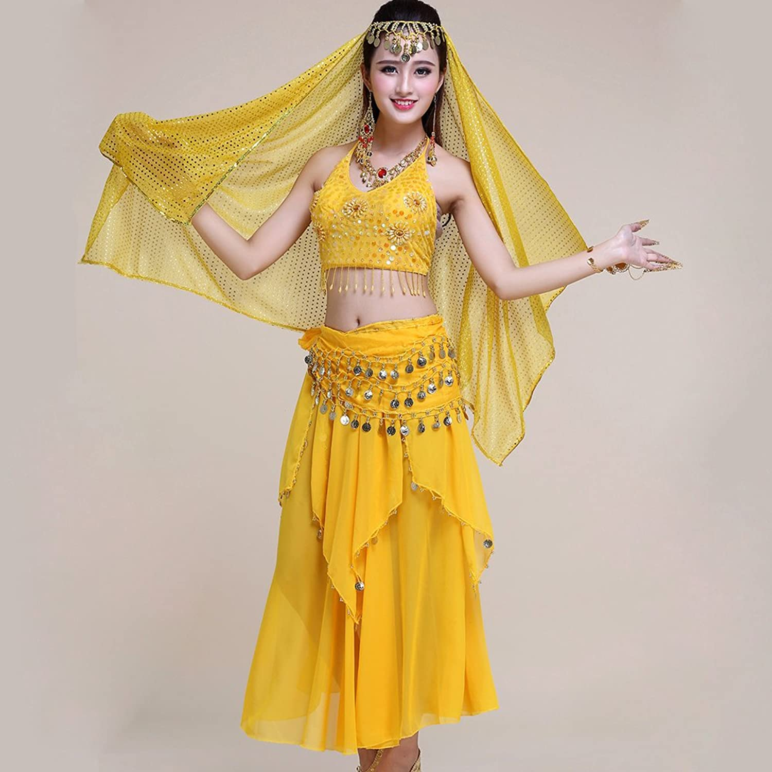 Professional Lady Belly Dance Costumes Sets Indian Dance Dress Performance Dress National Dance Yellow 5Piece Set