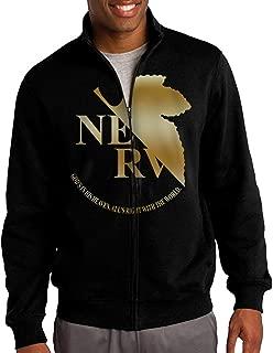 JFNCOST Men Neon Genesis Evangelion NERV Gold Logo Zip-up Jacket Hooded Sweatshirt Black