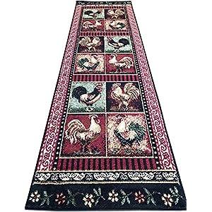 Carpet King Rooster Style Runner Area Rug Burgundy Black Green Beige Design 379 (2 Feet 2 Inch X 7 Feet 2 Inch)