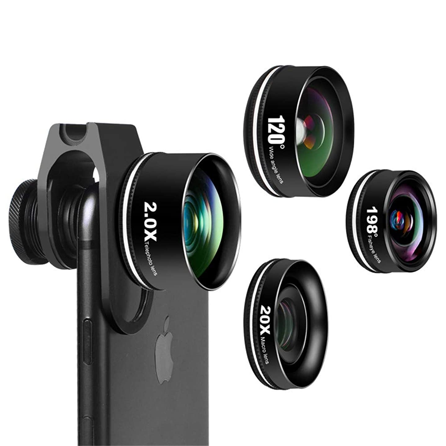 Four Cell Phone Lens,Wide Angle Lens, Macro Lens, Fisheye Lens,or iPhone X/8/7/6/6s Plus Samsung Android & Phone