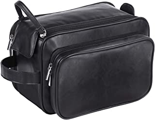 Large Toiletry Bag for Men or Women, PU Leather Bags Spacious Travel Dopp Kit, Water-resistant Toiletry Organizer Cosmetic Shaving Bag for Full Sized Container, Shampoo, Toiletries Accessories, Black