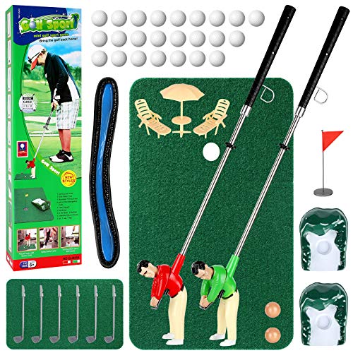 Wassteel Golf Toys for Kids and Adults, Retirement Gift Two Mini Golfers Indoor or Outdoor Golf Kit Game,Golf Course...