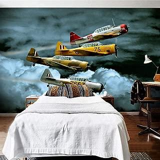 Papel Pintado Fotográfico - Avión de dibujos animados de luchador de arte moderno - Tipo Fleece no-trenzado Salón Dormitorio Despacho Pasillo decoración de paredes moderna 400 x 280 cm