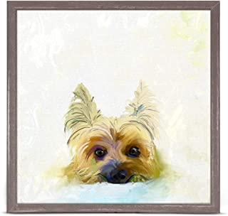 GreenBox Art + Culture Best Friend Yorkie by Cathy Walters 6 x 6 Mini Framed Canvas, Rustic Natural