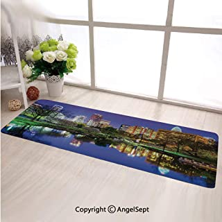 Custom Anti Slip Long Rectangle Mat,North Carolina Marshall Park United States American Night Reflections on Lake PhotoMulticolor,Fashion Long Carpet Choose Your Width by Length