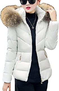 UUYUK Women Winter Faux Fur Zip Front Slim Fit Puffer Down Jacket