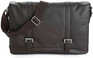 Double Buckle Leather Laptop Messenger Bag (Dark Brown)