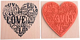 EORTA Wooden Rubber Stamp Love Heart Shaped Blocks Wooden Rubber Craved Printing Stamp for Crafting DIY Scrapbooking Decor Valentine's Day Wedding Gift Card Making, Women/Men