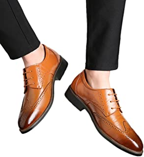 Kstare Men's Classic Dress Shoes Modern Formal Oxford Toe Lace Up Leather Business Flat Urban Casual Shoes