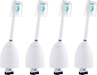 4 Pack of Replacement Brush Heads with Hygienic Travel Caps for Philips Sonicare E-Series HX7001 HX7023
