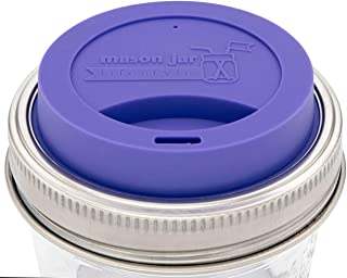 Silicone Drinking Lids with Rust Proof Stainless Steel Bands by Mason Jar Lifestyle (2 Pack, Ultra Violet, Wide Mouth)