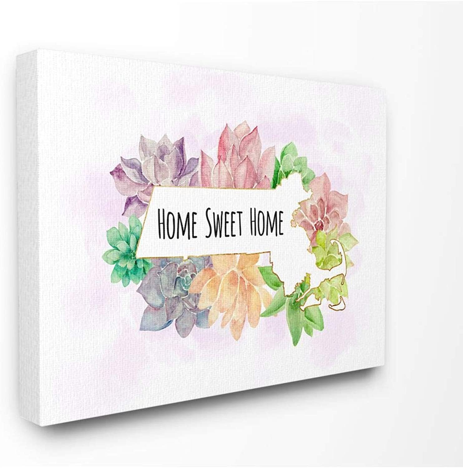 The Stupell Home Decor Collection cw1521_cn_16x20 Massachusetts State Home Sweet Home Succulent Watercolor Vignette Canvas Wall Art, 16 x 20
