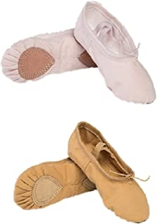 The Dance Bible Unisex Professional Light Pink and Brown Combo Ballet Canvas Shoes | Dance Shoes | Ballerina | Shoes for Dance Classes