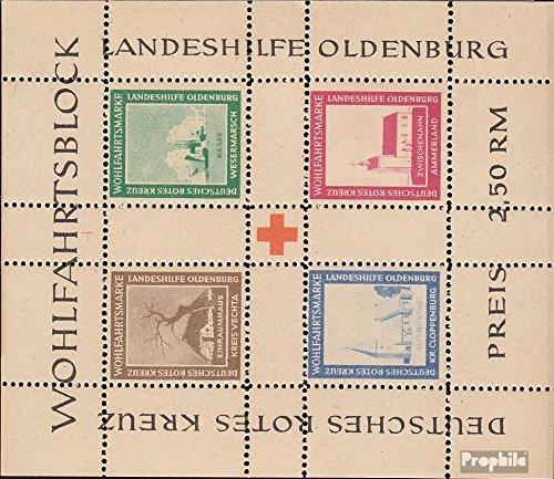 Prophila Collection Oldenburg (Lokalausgaben) Block I A 1948 Landeshilfe Oldenburg (Briefmarken für Sammler) Rotes Kreuz
