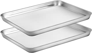 Baking Sheets Set of 2, HKJ Chef Cookie Sheets 2 Pieces & Stainless Steel Baking Pans & Toaster Oven Tray Pans, Rectangle ...