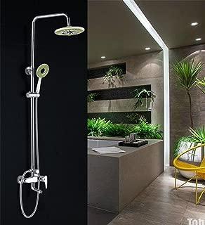 Caribou 3-Setting Bathroom Shower System Soild Brass Set Height Adjustable Luxury Rain Mixer Shower Combo Set Polished Chrome Finish