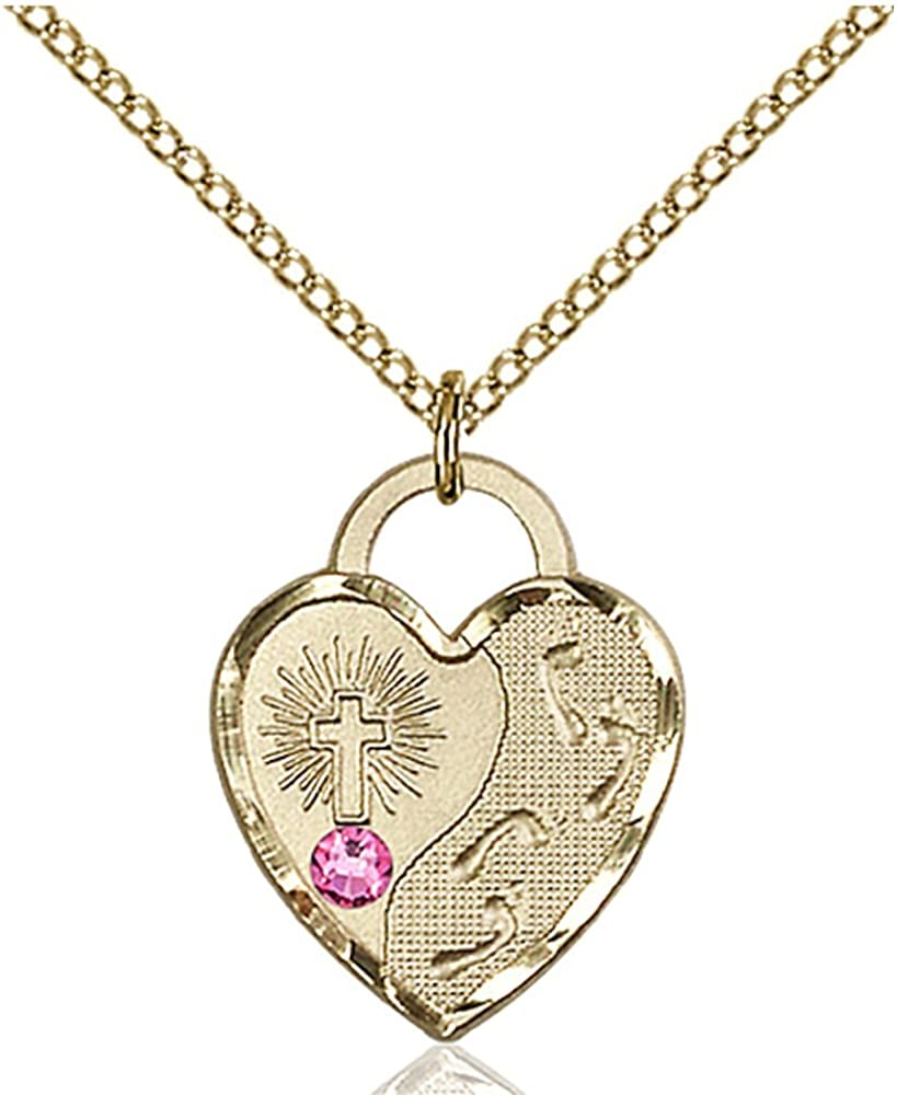 Bonyak Jewelry Gold Filled Footprints Courier Ranking TOP13 shipping free Heart Oct 3mm Pendant with
