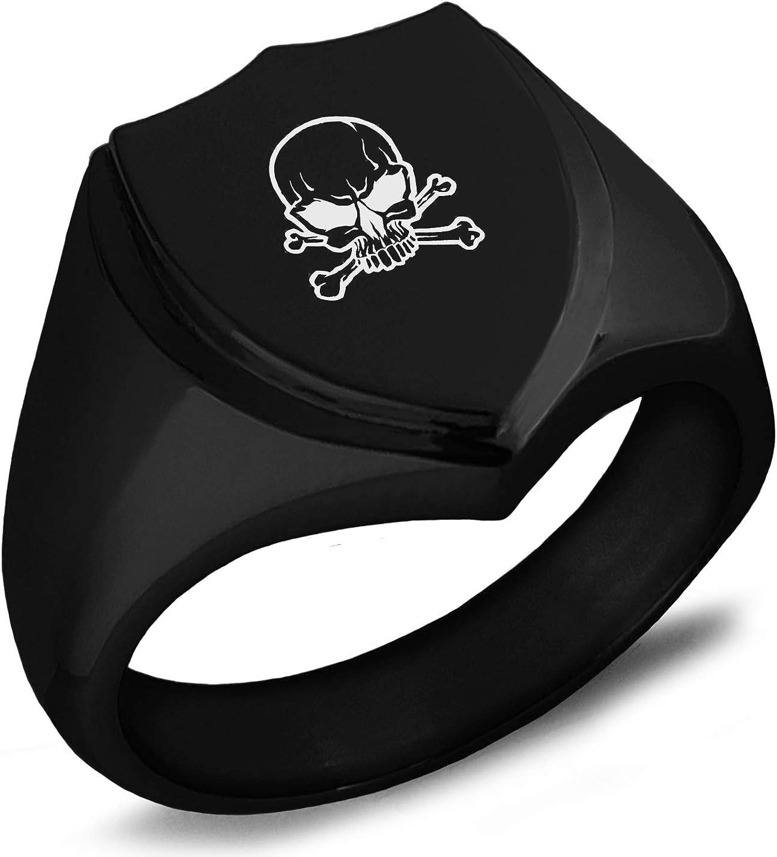 Tioneer Stainless Steel Pirate Skull & Crossbones Shield Biker Style Polished Ring