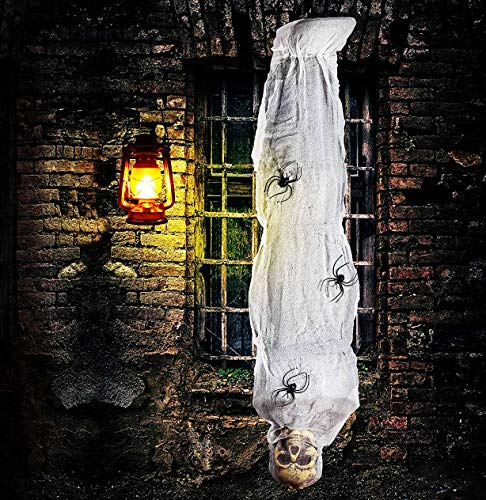 4E's Novelty Hanging Cocoon Corpse Prop Halloween Scary Decorations Outdoor 60 Inch/5 Ft Scary Hanging Skeleton Mummy…