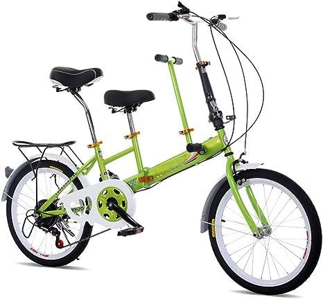 Bicicleta plegable SHIOUCY de 20 pulgadas, para adultos, niños, viaje, 2 asientos, plegable, color verde, tamaño 20 inches, tamaño de rueda 20.0: Amazon.es: Deportes y aire libre