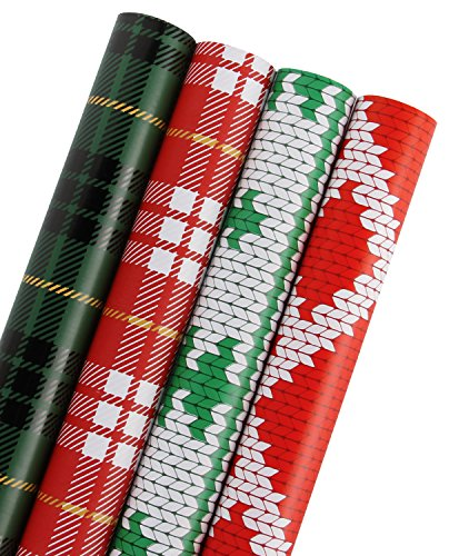 WRAPAHOLIC Gift Wrapping Paper - Plaid, Knit Heart, Knit Tree Design for Gift Wrap - 4 Rolls - 30 inch X 120 inch Per Roll