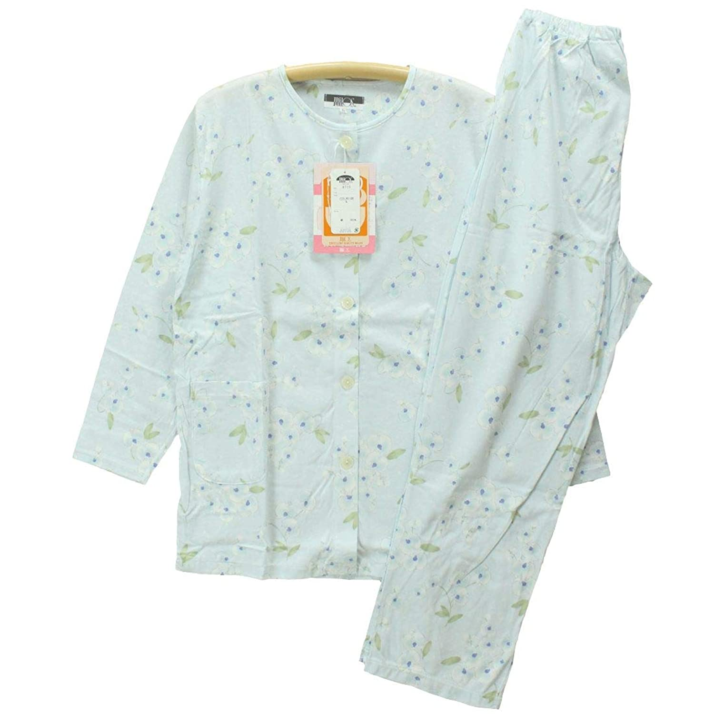 Mサイズ[春夏] 婦人長袖?長パンツパジャマ(日本製) 綿100%天竺ニット 丸首/前あき全開