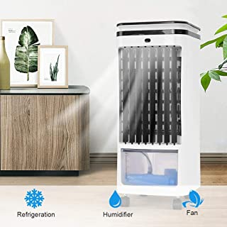 Evaporative Cooler, Portable Air Cooler, Air Humidifier with Water Tank and Swiveling Casters, Quiet, Low Energy, Bladeless Air Cooler Machine for Home Office Dorms