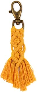 QTKJ Hand-woven Boho Macrame Keychains Charms Tassels Keyring Gifts for Women Handbag Purse Car Key Decor (Yellow)