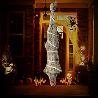 VATOS Halloween Decorations Cocoon Corpse, 74 Inch Hanging Corpses Props Scary Skeleton Body with LED Skull Eyes Inside Spider Web for Haunted Yard Indoor & Outdoor Decor Terror Props