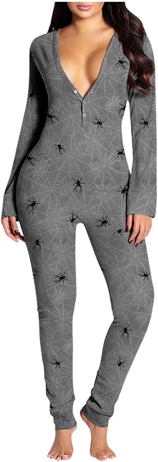 Gibobby Pajamas for Women Sleepwear Halloween Print V Neck Button-Down Front Jumpsuit Buttoned Flap Casual Long Sleeve